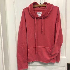 Cropped raw hem hoodie